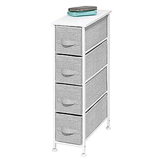 mDesign Cómoda de tela – Práctico organizador de armarios con 4 cajones – Sistema de almacenamiento estrecho para el dormitorio, el baño o la lavandería – gris