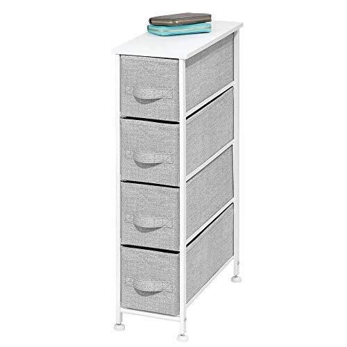 mDesign Kommode aus Stoff - praktischer Schrank Organizer mit 4 Schubladen - schmales Aufbewahrungssystem für Schlafzimmer, Schlafsaal und Waschküche - grau