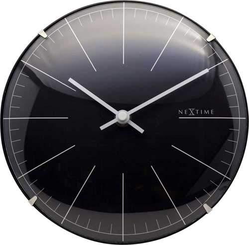 NeXtime Horloge Murale/de Table BIG Stripe Mini Dome, très silencieuse, Noire, Ronde, ø 20 cm
