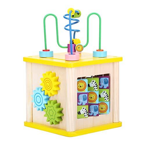 Toyvian Baby Multifunktions Activity Center Cube Holzperle Labyrinth Lernspielzeug für Kinder -
