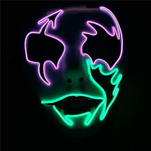 QHJ Halloween Kostüm Party Maske Scary Mask Cosplay LED Kostüm EL Wire Leuchten für Halloween Festival Party Helloween Kostüm Party - Halloween Scary Kostüm Mädchen