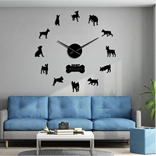 mazhant Ratte Terrier Rasse Silhouetten Spiegel Wandkunst Aufkleber DIY Große WanduhrHund Haustier Welpe Rahmenlose Hängende Wanduhr Uhr47inch