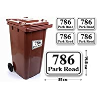 4 Set of A5(210 x 148 mm) Size Personalised Custom Rounded Rectangle Wheelie Bin Stickers with Your House Number, Digit, Letter & Road Name,Waterproof Labels or Decals#PBN05 Stickers Limited