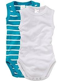 wellyou, 2er Set Baby-Body Kinder-Body ohne Arm, türkis/weiß geringelt und weiß, ärmellos für Jungen und Mädchen, Feinripp 100% Baumwolle