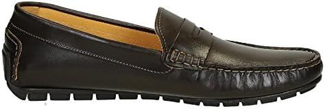 Leonardo Shoes Hombre 503VITELLOTMOROFAUSTO Marrón Cuero Mocasín