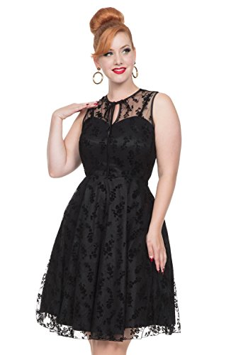 Voodoo Vixen Penny Vintage Retro 50er Jahre Party Dinner Abendkleid Cocktail Flare Dress - Schwarz (L - DE 38)