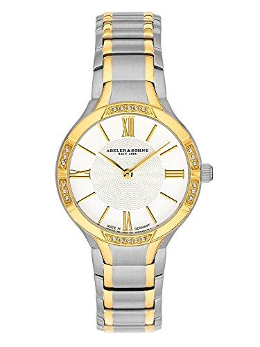 Abeler & Söhne fabricado en Alemania bicolor–Reloj de pulsera para mujer con correa de acero inoxidable, cristal de zafiro y Circonia as3178