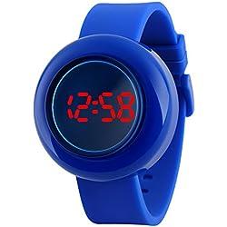 Sport Cool Spezieller Entwurf Digital Led Jelly Farbe Silikon Uhrenarmband Armbanduhren Für Herren Damen Jungen Mädchen, Blau