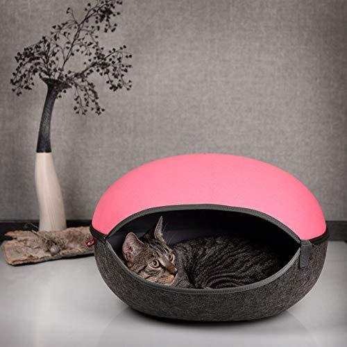 CanadianCat Company ® | KATZENNEST pink-anthrazit - Katzenhöhle Katzenbett Filzhöhle für Katzen