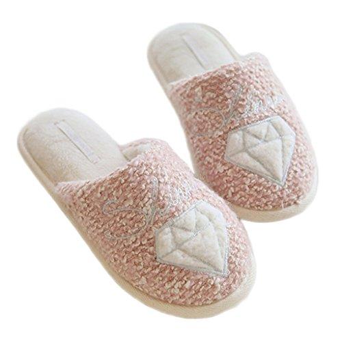 Fortuning's JDS Unisex adulti coppia Diamante & Stella confortevole comode pantofole in vello casa Calzature peluche Rosa