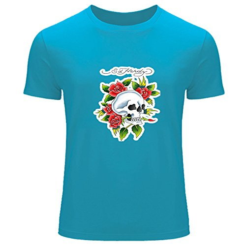 Fashion ed Hardy stampato da uomo T-Shirt Tee outlet l blue X-Large