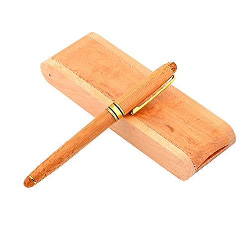 YaPeach Bambù Penna a sfera, WD03 Penna a sfera in legno retrattile Artigianato elegante Artigianale Completo regalo in legno per scrittura firme (colore primario)