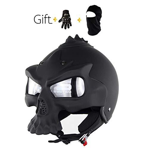 Yedina Harley Motorradhalbhelm Schädelform Schutz Kollision DOT Zertifizierung Halbhelm Männer Und Frauen Persönlichkeit Mattschwarz Motorradhalbhelm Eingebaute Linse Abnehmbare Maske,XL