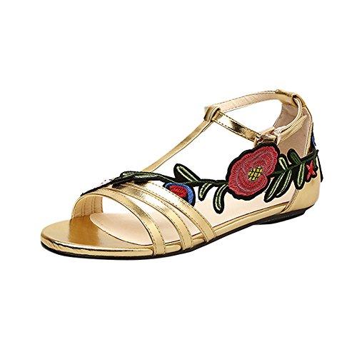 squarex Damen Frauen Sandalen Fashion flach Raffrollo Rose Stickerei Floral Casual Schuhe 3 UK/35 EU/36CN gold (4 Floral Schubladen)