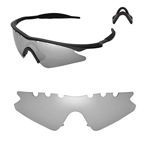 Walleva Entlüftete Ersatzlinsen oder Linsen mit schwarzem Nasenpolster für Oakley M Frame Sweep Sonnenbrille - 20 Optionen (Titan Polarisierte Linsen + Nasenpolster)