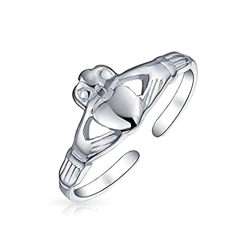 Bling Jewelry 925 Silver Celtic Midi Ring réglable Claddagh coeur Toe joints toriques