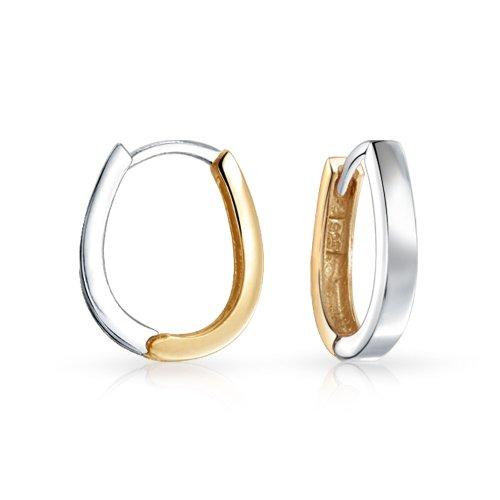 Zwei Ton Kleine Ovale Huggie Hoop Kpop Ohrringe Für Damen Für Herren Poliert Gold 14K Platten 925 Sterling Silber