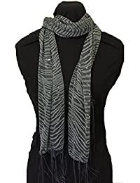Pamper Yourself Now Grey zebra print long thin shiny scarf with pretty sparkly lovely for evening wear
