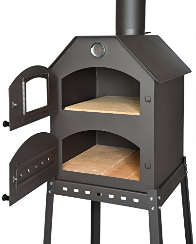 Professional Pizza Oven for the garden - 40x53x41 cm * Fireclay stone * Thermometer * Throttle | Pizza oven with double chamber | Flammkuchen oven with frame | Outdoor bread oven with air regulation