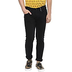 Spykar Mens Black Skinny Fit Low Rise Jeans (34)