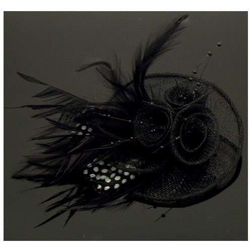 Acosta noir en maille avec perles et plumes Motif Floral &Barrette Pince à Cheveux/Broche Clip