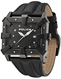 Police Men's PL.93404AEU/02A Quartz Watch with Black Dial Analogue Display and Leather Strap