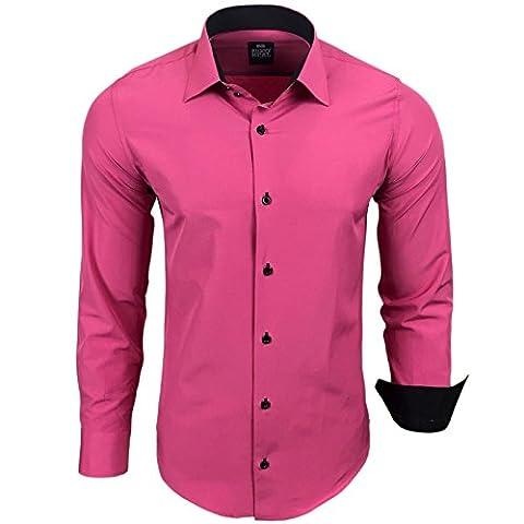 Herren Hemd Hemden Business Hochzeit Freizeit Slim Fit Bügelleicht S M L XL XXL, Größe:M;Farbe:Pink