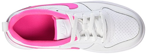 Nike Damen Court Borough Low (Gs) Basketballschuhe Weiß (White/pink Blast)