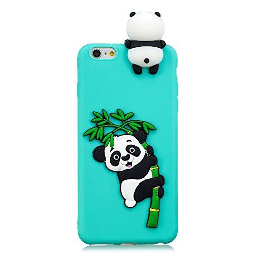 Fnbk iPhone 6s/iPhone 6custodia in silicone gel 3D Cartoon panda design gomma cover protettiva, Light Blue Panda