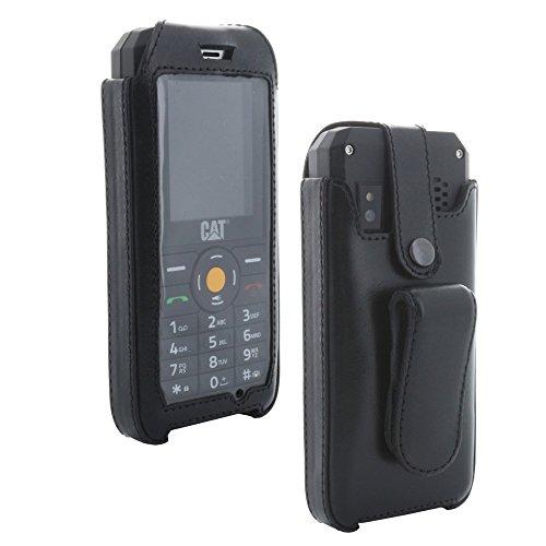 XiRRiX Echt Leder Hülle Tasche mit arretierbarem Gürtelclip - passend für CAT B30 Handy - Handytasche schwarz