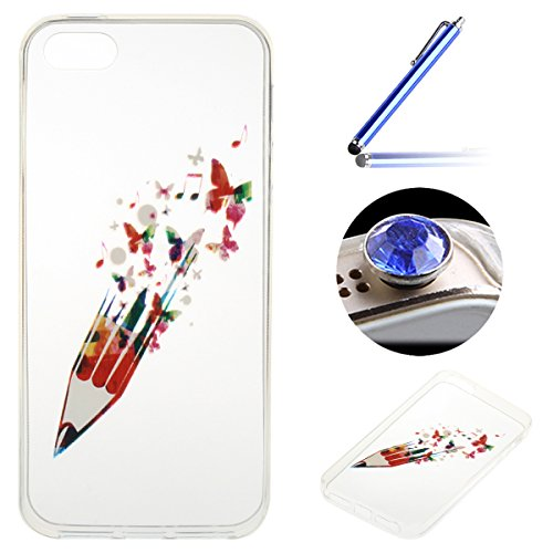 iPhone 5/5S/SE Coque, Etsue pour iPhone 5/5S/SE Vogue Gel Housse étui de téléphone mobile ,TPU Silicone Matériau Transparente Ultra Mince Supérieur Semi Transparent Doux Coque [Flamant] Motif pour iPh Crayon de Couleurs