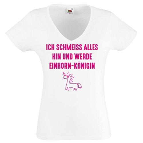 Damen Shirt V-Neck ICH SCHMEISS ALLES HIN UND WERDE EINHORNKÖNIGEN Lustige Sprüche Einhornsprüche T-Shirt Damen Gr. S - XXL WEISS-NEONPINK
