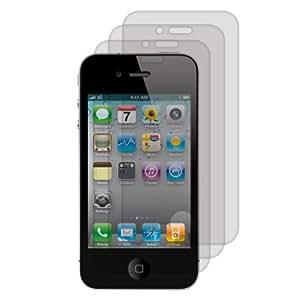 Lot de 3 films de protection effet matifié pour iPhone 4 + effet anti-empreintes + GRATUIT chiffon de nettoyage