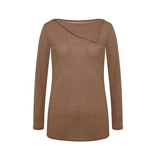 (MIRRAY Damen Langarmshirts Bluse Asymmetrisches Kragenhemd Herbst Frühling Pullover Einfarbig Tops T-Shirt)