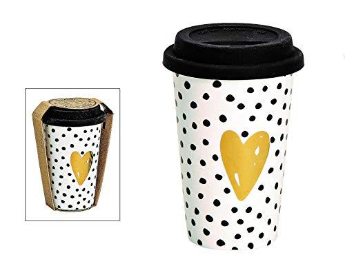 Becher to go Golden Heart Gold weiß schwarz Punkte Streifen Kaffeebecher Autobecher Kaffeebecher zum mitnehmen Porzellan Porzellanbecher modern Gummideckel (Punkte)
