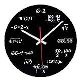XCXDX Mathe-Wanduhr - Schwarz und Weiß - Math Lehrer Geschenk, Wanduhr Für Klassenzimmer, Zuhause, Büro, Jede Stunde Durch Eine Einfache Mathematische Gleichung,