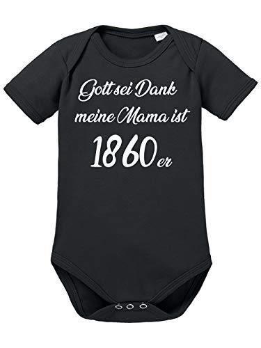 clothinx Gott Sei Dank, Meine Mama ist 1860er, Lustiges Fußballmotiv Baby Body Bio Schwarz Gr. 50-56