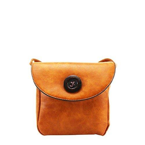 niedlich Diva Knopf Handtasche S Haute für NEU Kunstleder Holz Damen Verzierung Small Umhängetasche Gelb Braun klein R55qwzC