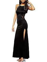 e54b0b6e3165 MYWY - Abito Pizzo Lungo Donna Cerimonia Elegante Vestito Pizzo Abito Nero  Party Rosso Carpet