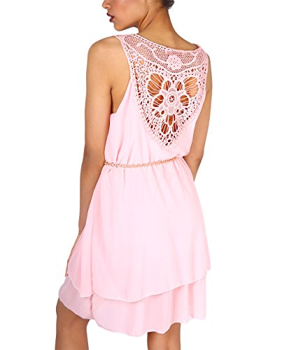 KRISP® Damen Chiffon Tunika Kleid mit Häkel Details Rosa (4861)