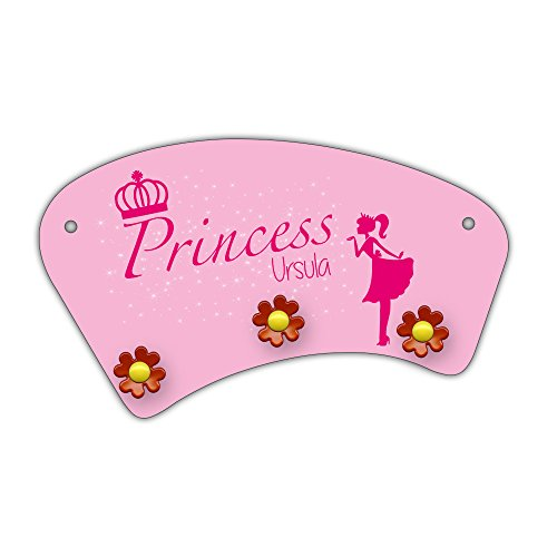 amen Ursula und schönem Prinzessin-Motiv für Mädchen - Garderobe für Kinder - Wandgarderobe ()