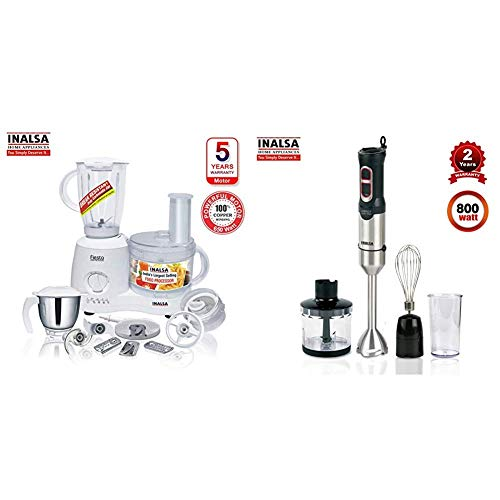 Inalsa Food Processor Fiesta 650-Watt + Inalsa Hand Blender Robot INOX 1000 Powerful 3 in 1