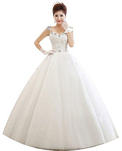 Eyekepper Robe perlee Spaghetti une balle de mariage robe de mariee Taille personnalisee Blanc
