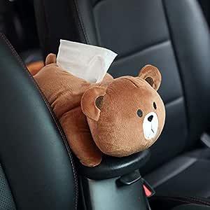 Coromose Car Tissue Box Car Hanging Seat Back Type Car Shade Block Cartoon Cute Interior Auto Accessories Tissue Box Little Brown Bear