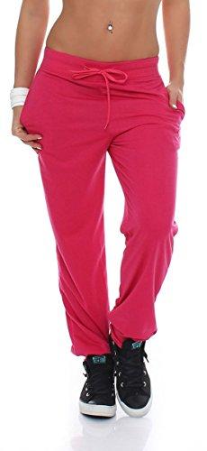 malito Damen Jogginghose im Classic Look | Sporthose in Unifarben | Baggy zum Tanzen | Sweatpants - Trainingshose H1206 (pink, XXL)