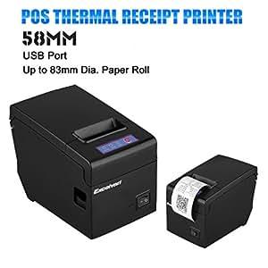 Excelvan 58mm USB Thermique Imprimante Dot Ticket compatible convenable à Diamètre 83mm Bobine Thermique (Noir)