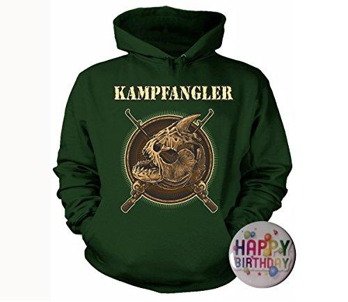 Geschenke-Set: T-Shirt Kampfangler, Angeln, Fischen S bis 5XL bottlegreen +Button Happy Birthday
