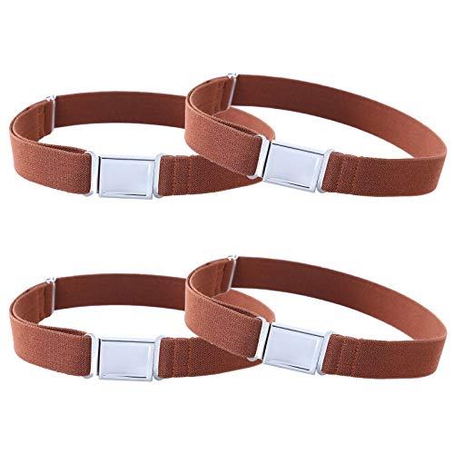 Kajeer 4 Stück Gürtel für Jungen Mädchen Verstellbar - Großer Elastischer Stretchgürtel mit einfacher Magnetschnalle für 2-15 jährige Jungen und Mädchen (4 Kaffee) -