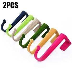 2PCS S Style Flocking Door Back Multi-functional Rack Hangers - BLUE