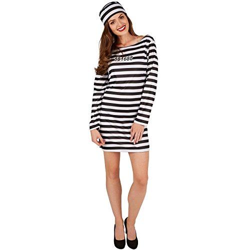 Frauenkostüm Knastbraut | Sexy, kurzes gestreiftes Kleid inkl. Hut (S | Nr. 301429) ()